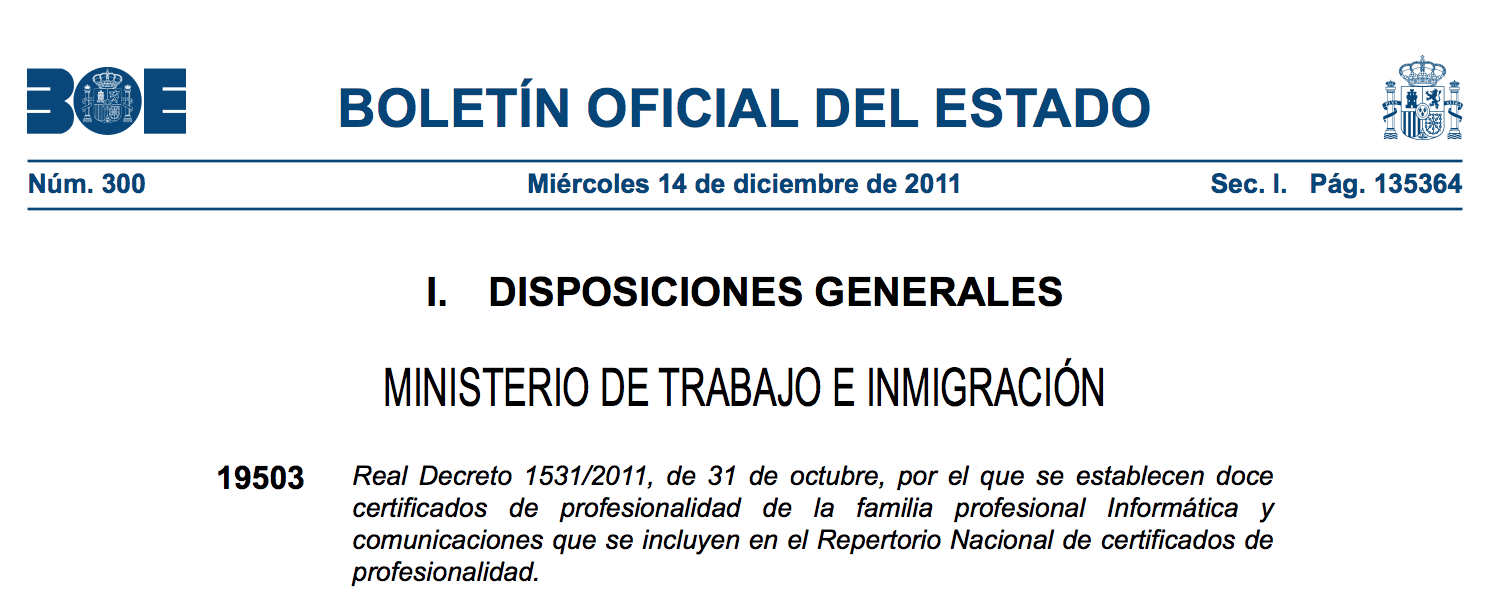 Real Decreto 1531/2011, de 31 de octubre