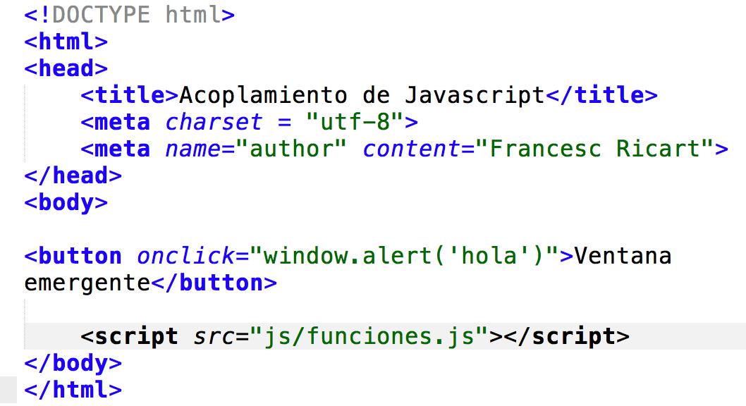 resultado tras aglutinar todo el JS en una hoja externa