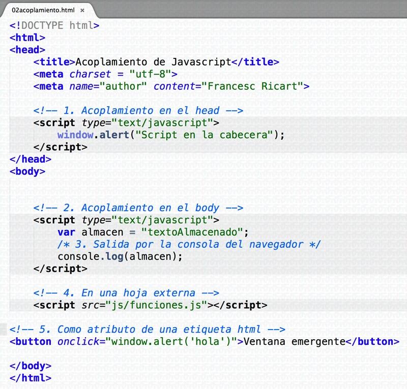 Acoplamiento de javascript en un documento xhtml