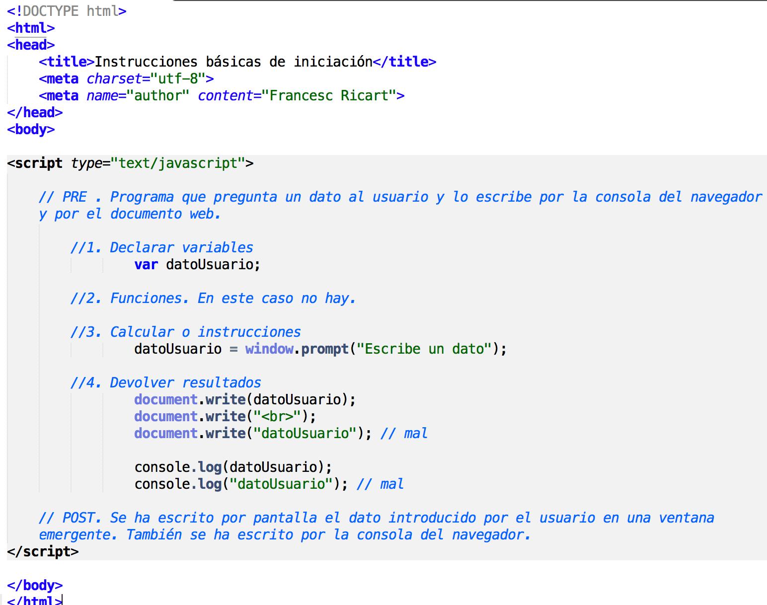 instrucciones elementales de javascript