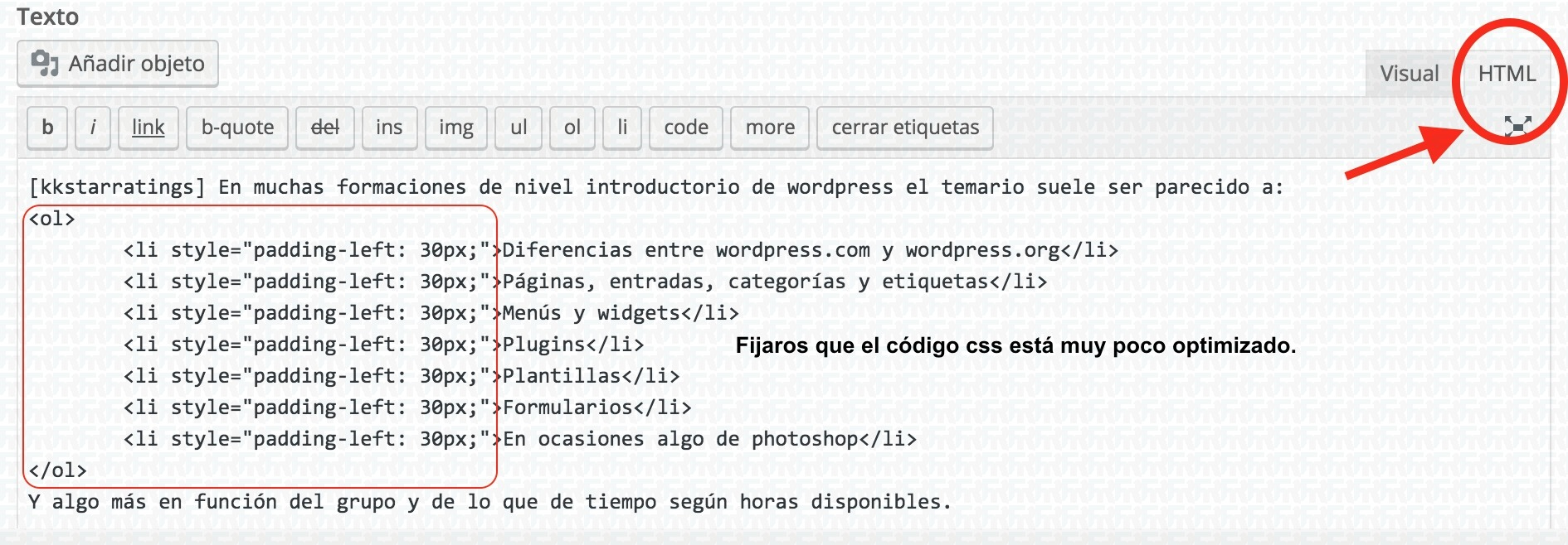 editor html wordpress