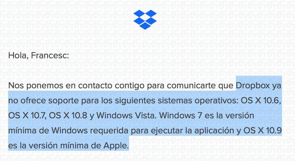 fin de sorporte dropbox mac y windows