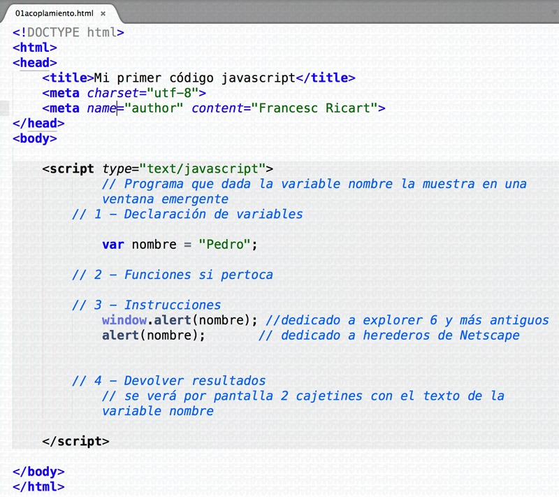 ejemplo programa básico javascript