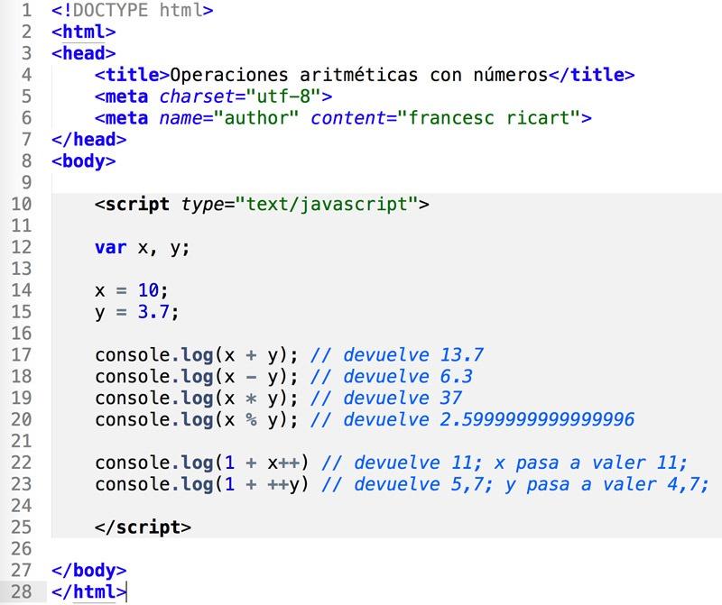 operaciones con variables tipo número