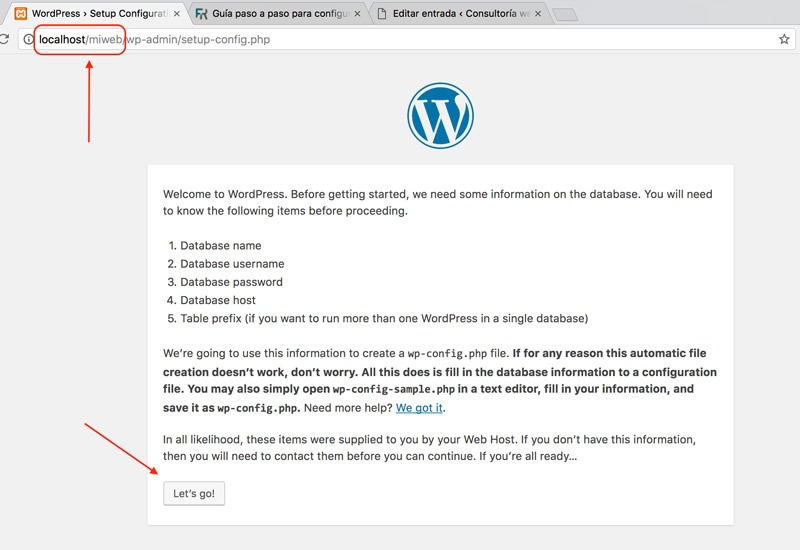 instalación wordpress local en xampp