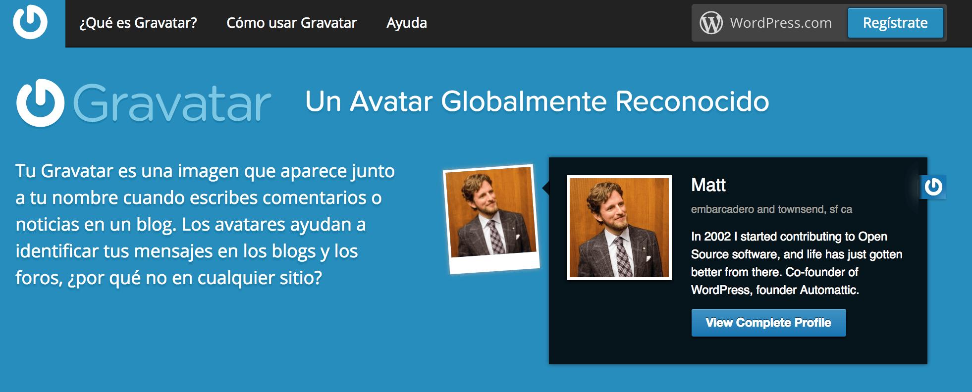 Captura de pantalla de gravatar.com