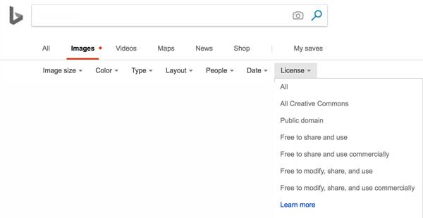Búsqueda avanzada de imágenes en Bing