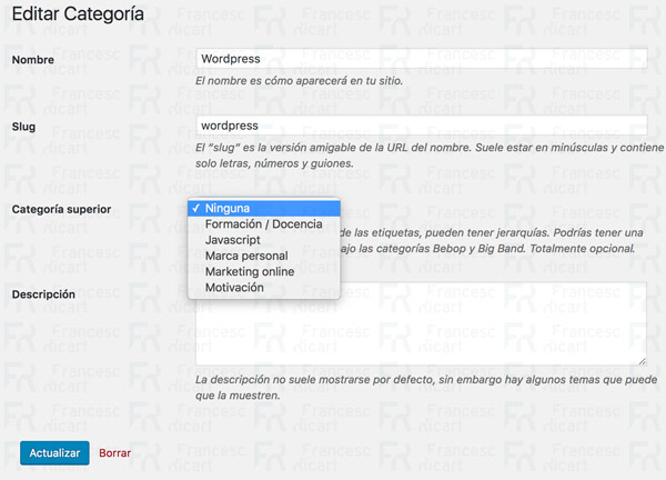 subcategorías wordpress