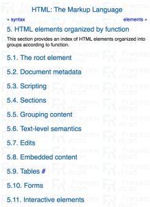 clasificación de etiquetas oficial según w3c