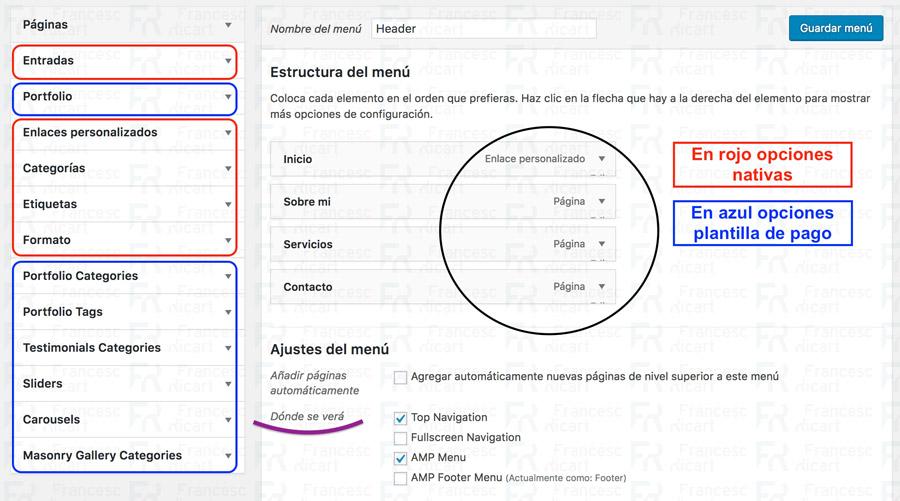 Como configurar menú wordpress