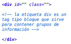 etiqueta div html
