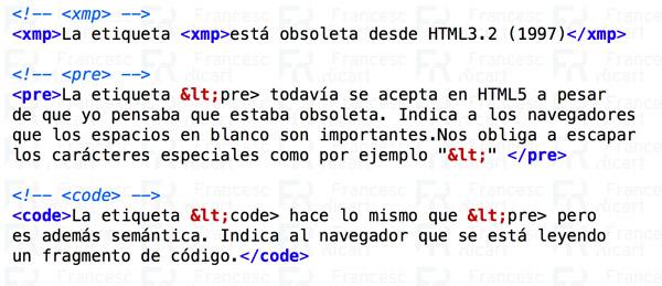 etiquetas html preformatear textos