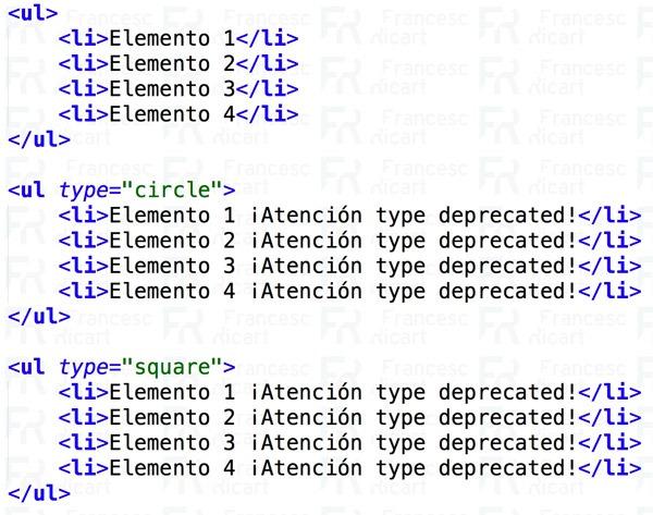listas html no ordenadas