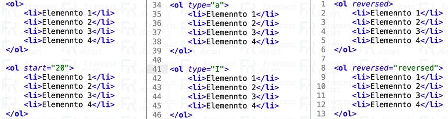 listas html ordenadas