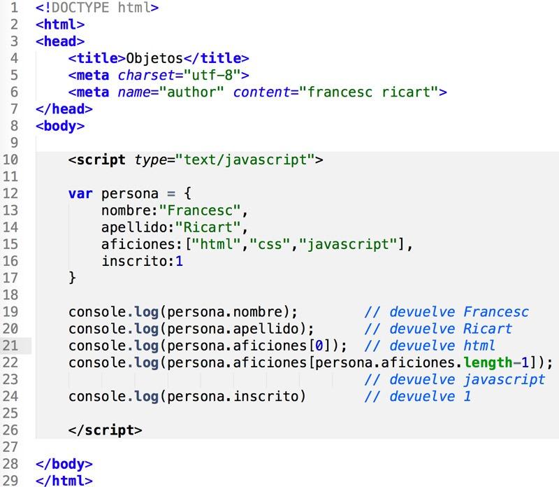 objetos Javascript