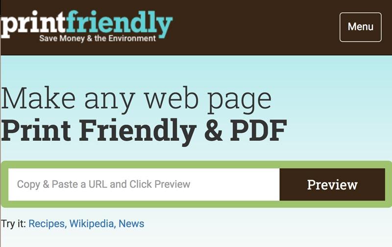 PrintFriendly herramienta para pdf online