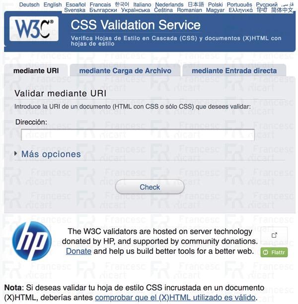 Validador de código CSS del W3C