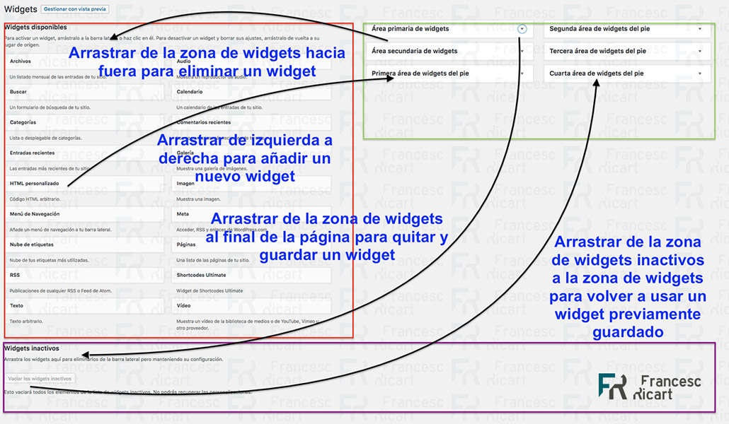 Guardar, eliminar y usar widgets en wordpress