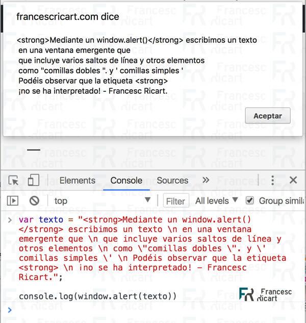 escapar instrucciones en javascript