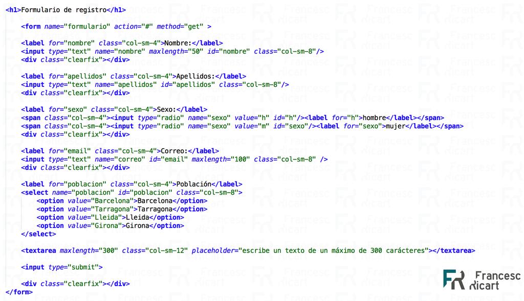 formulario html responsive