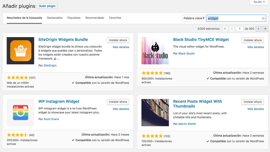 como instalar widget en wordpress