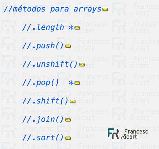 resumen métodos JS arrays