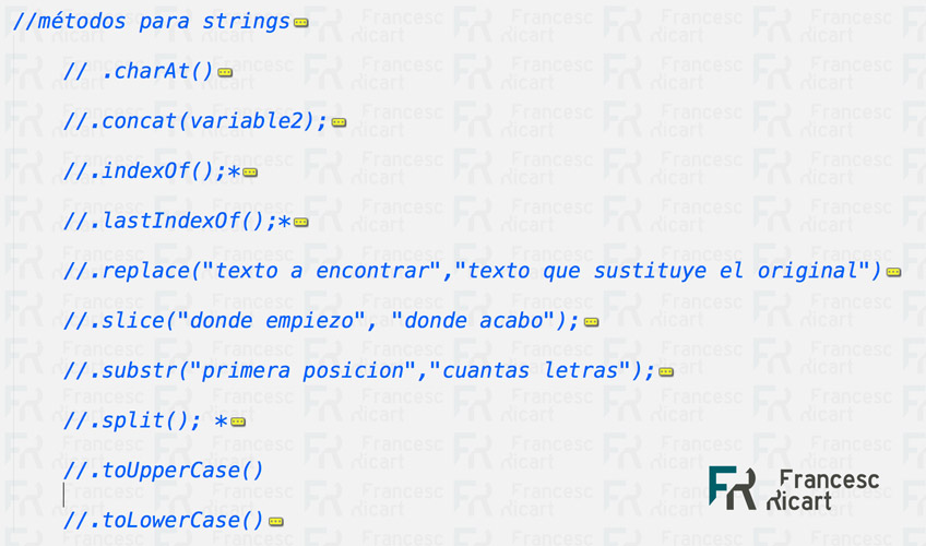 Métodos javascript para strings