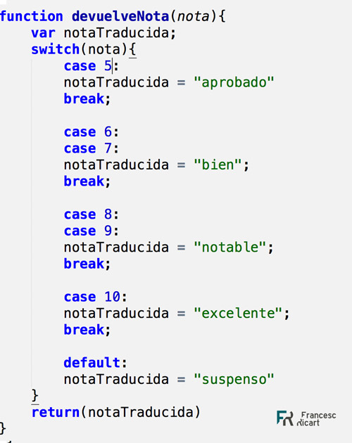 estructura condicional switch javascript