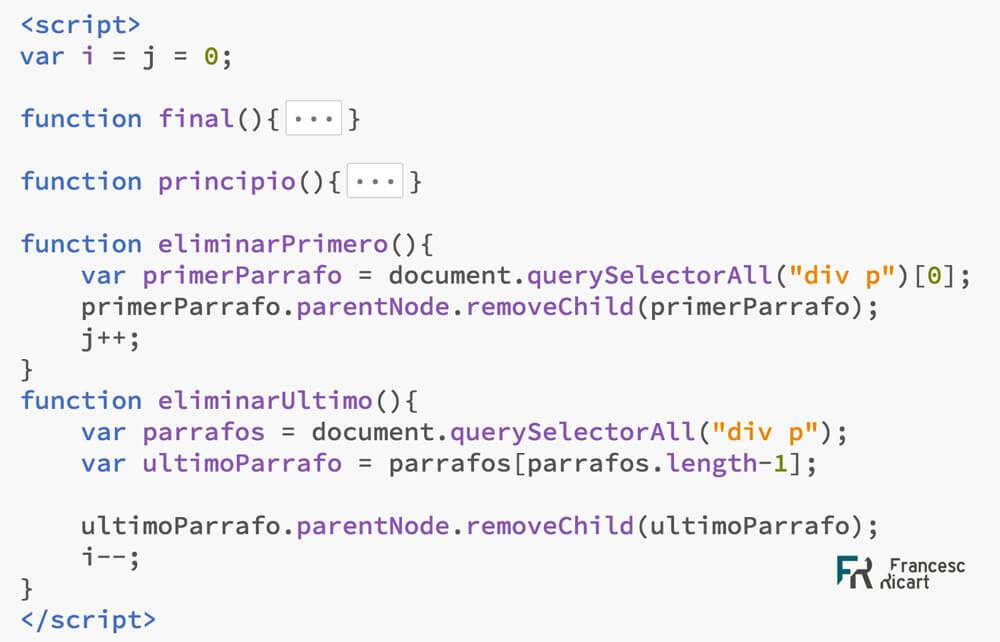 eliminar nodos DOM javascript