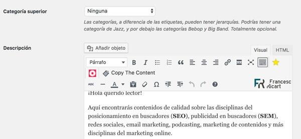 personalizar contenido categoría