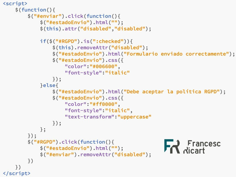 código jquery validación datos