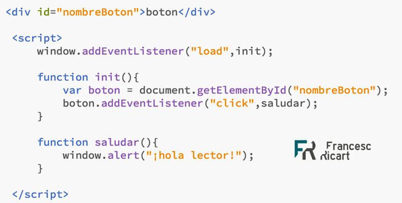 ejemplo código addEventListener