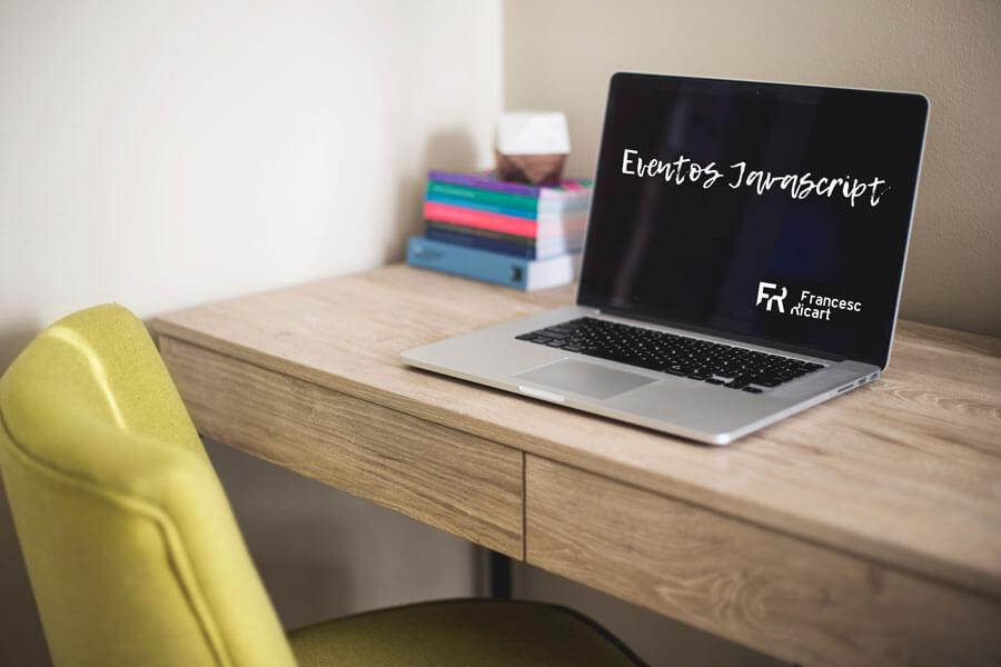 pantalla ordenador con texto eventos JS