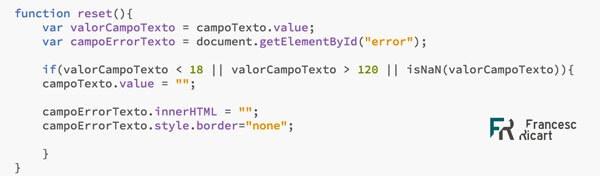 código función reset del ejemplo