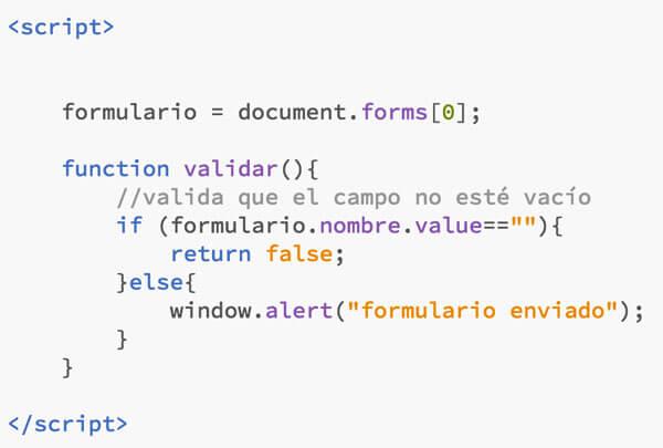 validación de formularios con JS método clásico