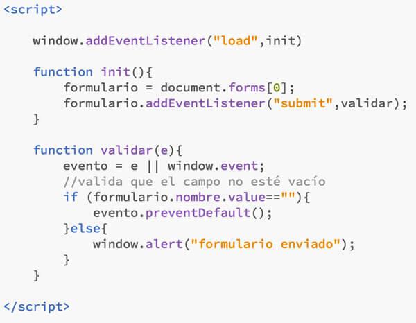 código js validación formulario con preventDefault()