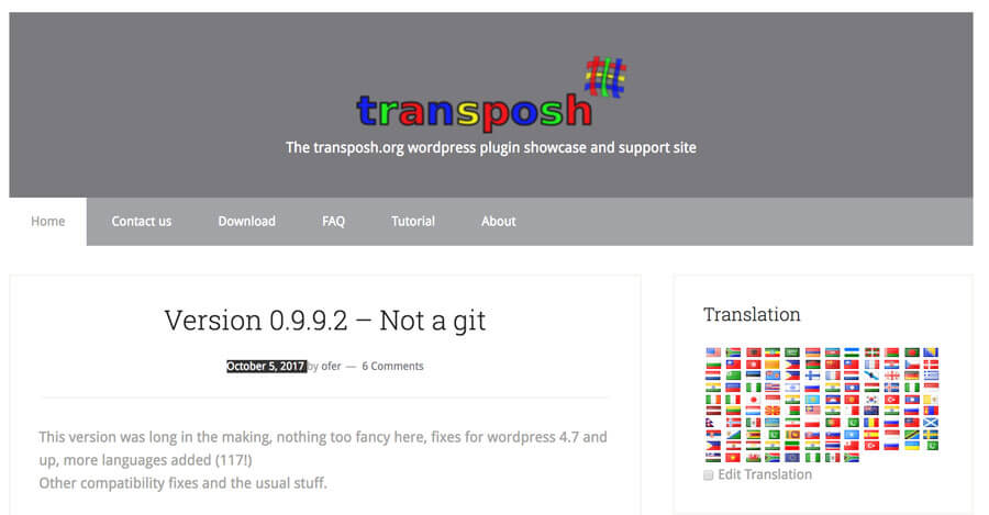 captura de pantalla de la página de inicio del plugin transposh