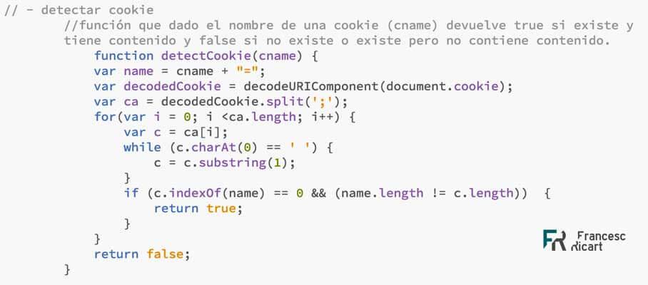 Función para detectar si una cookie existe