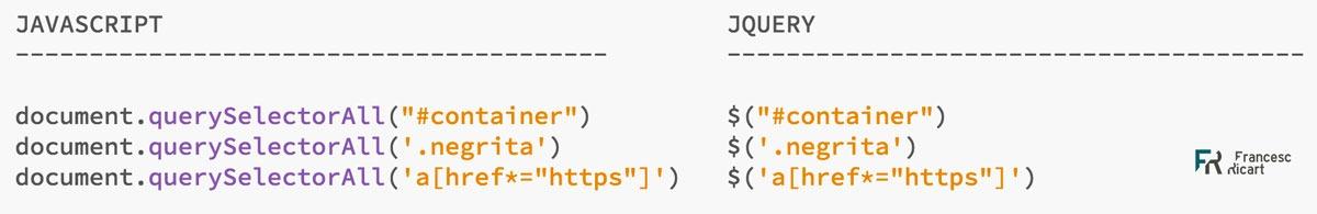 tabla comparativa jquery y javascript
