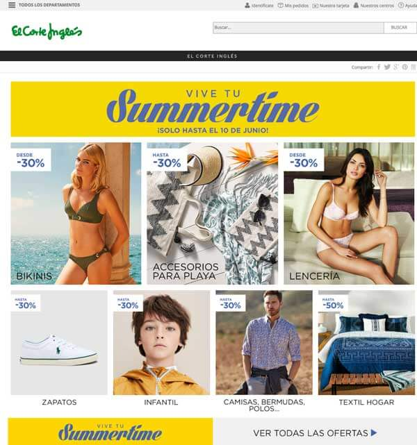 Captura homepage elcorteingles.es