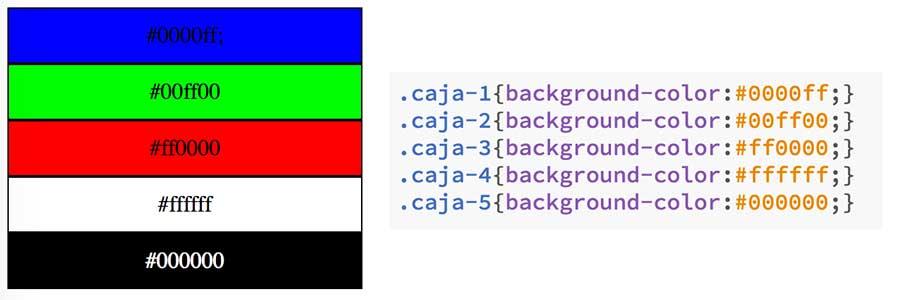 Colores CSS en hexadecimal
