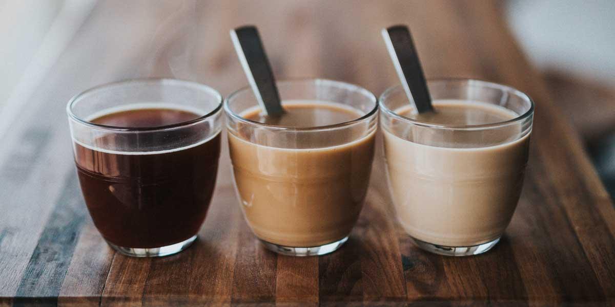 cafe negro, con leche y café con mucha leche