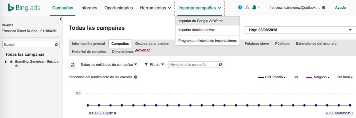 Trabajar la marca personal con una campaña de Bing Ads 2