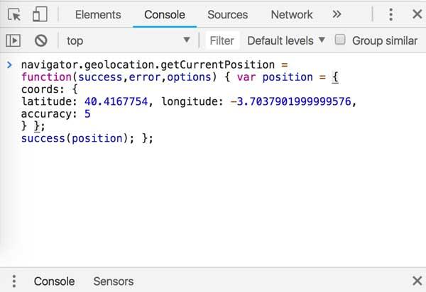 modificación ubicación mediante consola del navegador