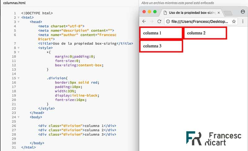 Ejemplo de diseño CSS roto