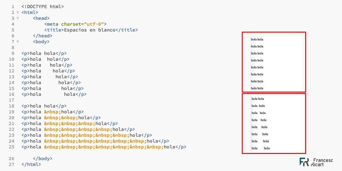espacios en blanco html