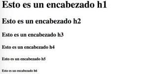 encabezados html h1 a h6