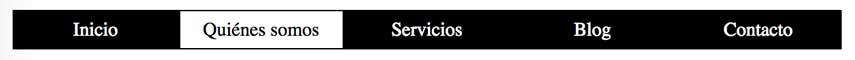 Menú horizontal con CSS en blanco y negro