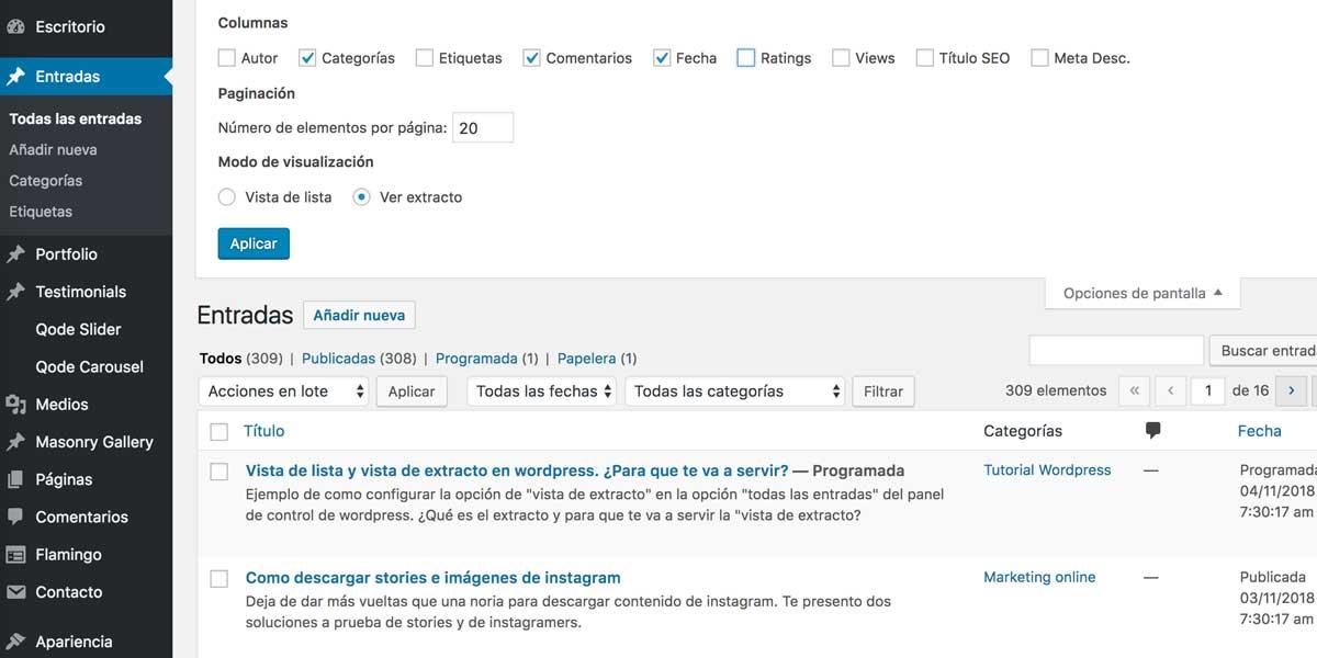 Ejemplo vista extracto configurada en wordpress