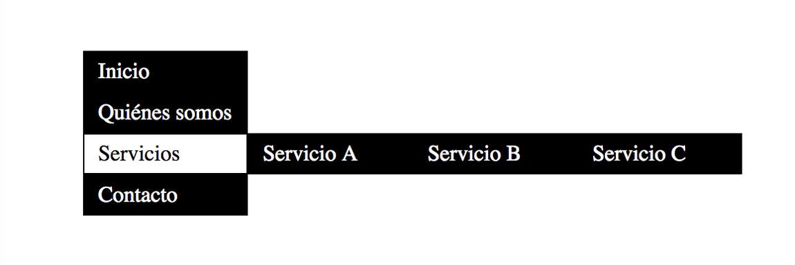 Ejemplo de menú vertical con submenú horizontal mediante CSS 1
